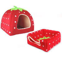 Wholesale 2015 New arrival Hot sale best quality Hot Soft Strawberry Pet Dog Cat Bed House Kennel Doggy Warm Cushion Basket G01062