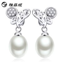 Wholesale s925 silver natural white pearl light flawless perfect circle inlaid zircon earrings factory direct agent
