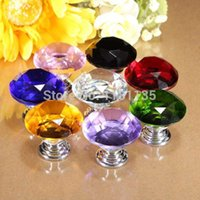 Cheap New 30mm Diamond Shape Crystal Glass Cabinet Knob Cupboard Drawer Pull Handle Free Shipping