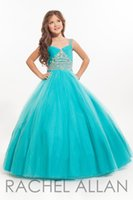 aqua color flowers - Aqua Rachel Allan Lovely Flower Girls Pageant Dresses Spaghetti with Beads Tiers Tulle Princess Child Junior Bridesmaid Gowns BA0253