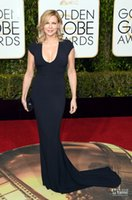 Wholesale 2016 Golden Globe Award Veronica Ferres Evening Dress Black Mermaid Scoop Gown Blush Train Cap sleeves Round Neckline