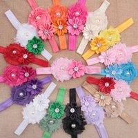 Wholesale New Fashion Elastic Colorful Baby Girl Infant Lace Hair Ribbon Flower Headwear Hair Band Baby Headband Kit W961
