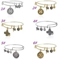 Wholesale Fashion Charms Bracelet Alex and Ani Expandable Wire Bangles Lucky clover bracelet Metal Vintage Wristband For Women