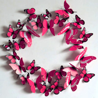 Wholesale 24Pc Removable D Vinyl Butterfly Wall Sticker Home Decor DIY Christmas Stickers For Kids Room Decorative Wedding Decoration FG07008