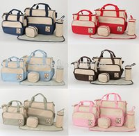 Wholesale 2015 New Designers Multifunctional Diaper Bag Tote Mummy Baby Bags Fashion Nappy Changing Bag Maternity Bag Set Colors
