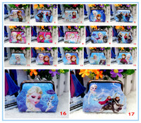 Wholesale Girls D Cartoon Frozen Coin Purse with iron button Anna Elsa shell bag wallet Purses children Gifts For Holidays Christmas style