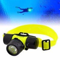 Wholesale Waterpoof head lantern CREE XML T6 LED Headlamp Underwater head lamp light Diving headlight Swimming lanterna frontal flashlight
