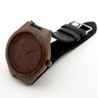 Casual Men's Shock Resistant Fashion Men Black Wood Watch Japan Quartz Movement 2035 Wooden Watches With Genuine Cowhide Leather Strap Fashion Watch Gifts