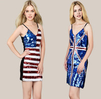 union jack dress - New Women s Sexy Clubwear Dress Sequined US Flag British Union Jack Dress Bodycon V Neck Mini Slip Dress
