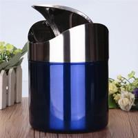 best kitchen worktops - Best Price Blue Color Stainless Steel Trash Bin1 L Mini Car DustBin Swing Lid Kitchen Worktop Waste Rubbish Trash Can
