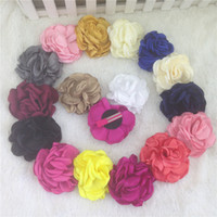 "Cheap 4"" baby hair flower for kids headband hair accessories satin baby flower WITH CLIP for kids 16pcs lot free shipping"