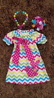 easter bunny - baby girls Easter Bunny dress with matching headband and chunky necklace set