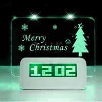 Wholesale LED Light Fluorescent Message Board Digital Alarm Clock Calendar electronic desktop table clocks despertador saat ET04 WY
