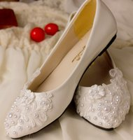 Wholesale 2016 Fashion handmade imitation pearl lace dress shoes bridal wedding shoes shuoshuo6588