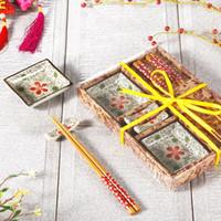 Wholesale Chinese wind creative Japanese tableware ceramic dishes chopsticks sets gift box sushi tableware