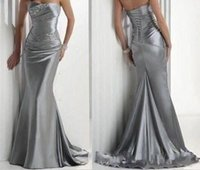 Wholesale In Stock Hot Sexy Cocktail Gowns Formal Event Strapless Beaded Silver Elastic Satin Women Bridesmaid Evening Mermaid Prom Dresses Under