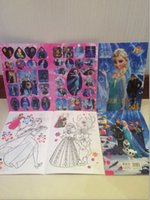 Wholesale 12pcs new FORZEN ELSA anna Sticker children s educational stationery treasure painting coloring book for boys girls kids
