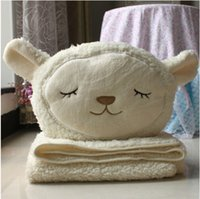 air condition used - Candice guo New arrival very cute plush toy dual use Dolly sheep cushion air condition blanket pc