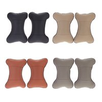 Wholesale Universal Auto PU Leather Pillow Car Seat Cover Seat Headrest hole digging Neck Rest Cushion Pillow K1367