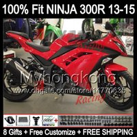 Wholesale 8Gifts Factory red Injection For KAWASAKI NINJA ZX300R EX300 Y253 ZX R EX300R R Glossy red Fairing
