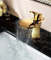 faucets - Cloud Power Waterfall Bathroom Faucet with Gold Vanity Sink Faucets with Brass Copper Taps for