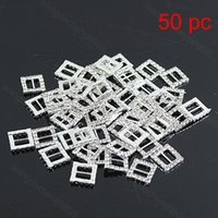 Wholesale Wedding Decoration x1 cm Crystal Clear Silver Buckle Square Rhinestone Ribbon