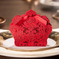 Wholesale Red Basket Shape Wedding Favor Boxes Laser Cut Flower Candy Boxes Chinese Wedding Party Favors Set of Pieces