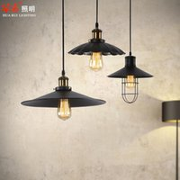american jazz - Edison jazz hat chandelier industrial style Black Iron Shade E27 Fitting Antiqual Metal Droplight Pendant Lamp American style