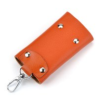 Wholesale PU leather key wallets bags key chain Stainless Steel Keys bag car key holder key ring handbag key case gifts purse