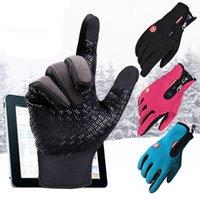 Wholesale Fashion Winter Men Waterproof Cashmere Five Fingers Touch Screen Gloves Driving Gloves For Men Women Colors