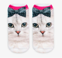 Wholesale Princess Style Bowknot Cat D Printing Socks Women Girls Animals Character Ankle Soft Sock High Quality DCBF48