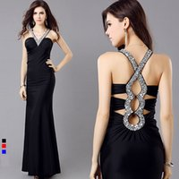 Wholesale 2014 Sexy Mermaid Trumpet Backless Bandage Deep V Neck Halter Sequin Elastic Lycra Ankle Length Party Prom Dress Color Black Blue Red
