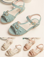 Wholesale 2015 summer sandals barefoot children Girls bow lace soft dough buckle princess beach sandals in stock pair LY