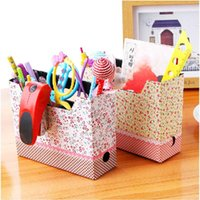 Cheap Lovely DIY Cosmetic Stationery Paper Board Storage Makeup Box Desk Decor Organizer#55556