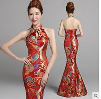 Wholesale 2015Fashion Lace Golden Phoenix red Fish Tail Cheongsam Evening Dress Long halter quality satin formal dress plus size