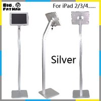 floor stand display - Tablet pc stand display floor stand for iPad lock tablet holder Aluminium Alloy universal degree rotatable black silver