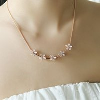 Cheap Latest Korean jewelry fashion five flower opal necklace female clavicle chain OL temperament short paragraph diamond necklace