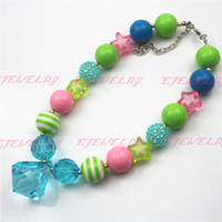 acrylic acid resin - Acid Blue Waterdrop Chunky Children Girls Bubblegum Chunky Necklace Girls Necklace CB537