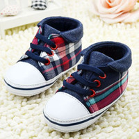 soles - Toddler Boys Plaid Crib Shoes Sneaker Kid Lace UP Soft Sole Baby Shoes Prewalker FreeShipping dandys