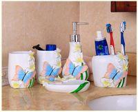 Wholesale Butterfly Flavor Bathroom Five Piece Sets Import Resin Wash Ware lotion Shampoo Shower Gel Bottle Toothbrush Holder Soap Dish