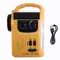 AM / FM emergency radio - 2015 new radio fashion Yellow Emergency Solar Dynamo Radio LED Lights Charger Crank H1E1 hight quality