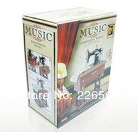 Wholesale EMS Pieces Vintage Mini Sewing Machine Music Box Sartorius Model Musical Toy Desktop Display Toy