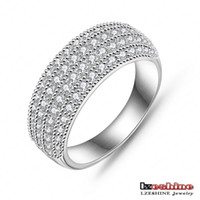 Wholesale Simple Style High Quality Real Platinum Plated K Gold Plated AAA Swiss Zircon Fashion Jewelry Rings CRI0024