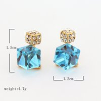 baby diamond earrings - Hot Selling Stud Diamond Earrings For Girls With Crystal Pairs A Fashion Jewelry Stores Blue Ear Rings Candy Baby Accessories