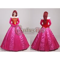 aurora costume - Custom Made Adult Women s Deluxe Sleeping Beauty Aurora Princess Dress Cosplay Costume Wig Halloween Fantasy Fancy Dress