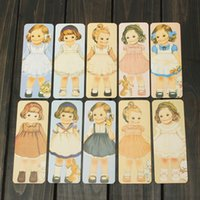 Wholesale 30pcs Hot Cartoon Book mark The Gift of Friendship Different Design Lovely Vintage Rectangular Doll Girls Paper Bookmarks