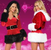 Wholesale Sexy Christmas dresses Costumes For Womens new cheap ladies red Stretch Velvet fur Plush Miss Santa Xmas dress clothing high quality