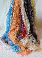 Wholesale 500pcs women Lace Sheer Floral Print silk scarf Hollow tassel triangle pendant scarves shawls