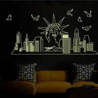 architectural wall decor - wall stickers home decor ABQ9622 three generations of flat wall stickers European architectural style landscape luminous paste stickers Stat