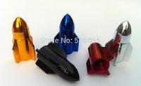 Wholesale Cool colorful aluminium rocket design car wheel tire valve cap stem tyre air dust caps promotion ratail